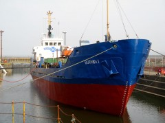 MV Burhou, leaving Dry Dock
